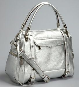Rebecca Minkoff Silver Cupid Pebbled Leather Bag